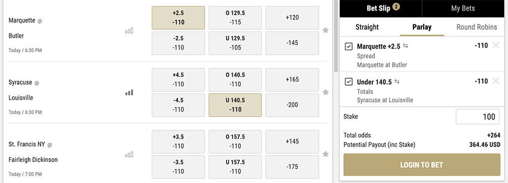 college basketball parlay bets