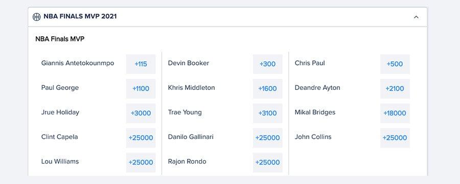 nba finals mvp odds from FanDuel
