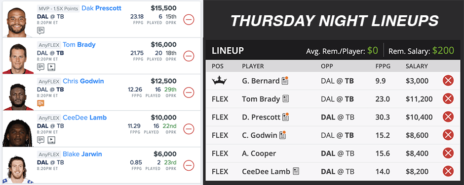 Thursday Night Lineups - Week 1